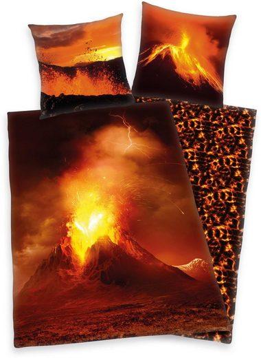 Kinderbettwäsche »Vulkan«, Herding Young Collection, mit Vulkanmotiv