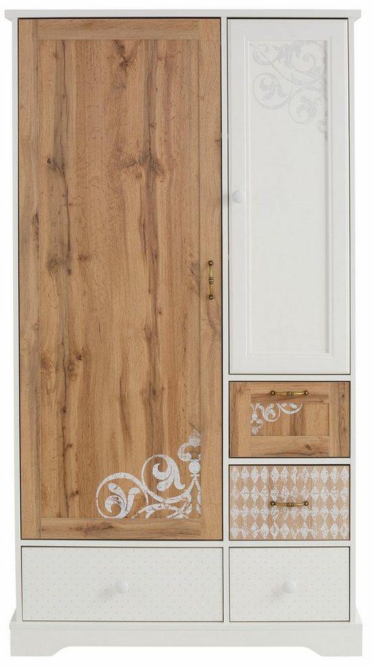 Flurschränke und Regale - Home affaire Garderobenschrank 2 türig »Ella«, 102 cm breit, dezent verziert bedruckt mit Ranken und Ornamenten  - Onlineshop OTTO