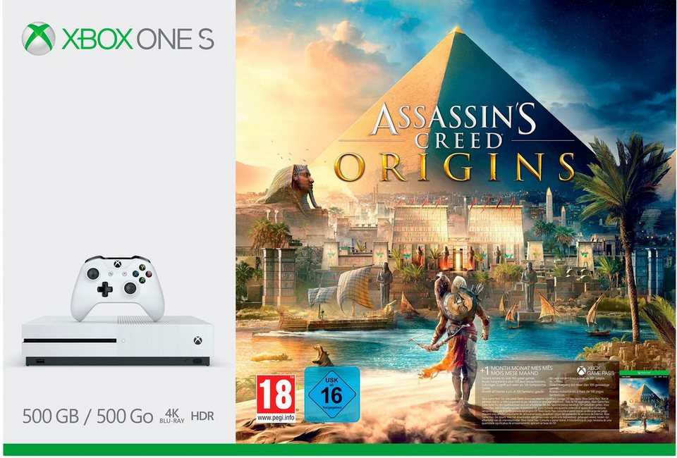 xbox one s 500 gb assassins creed origins dlc 4k. Black Bedroom Furniture Sets. Home Design Ideas