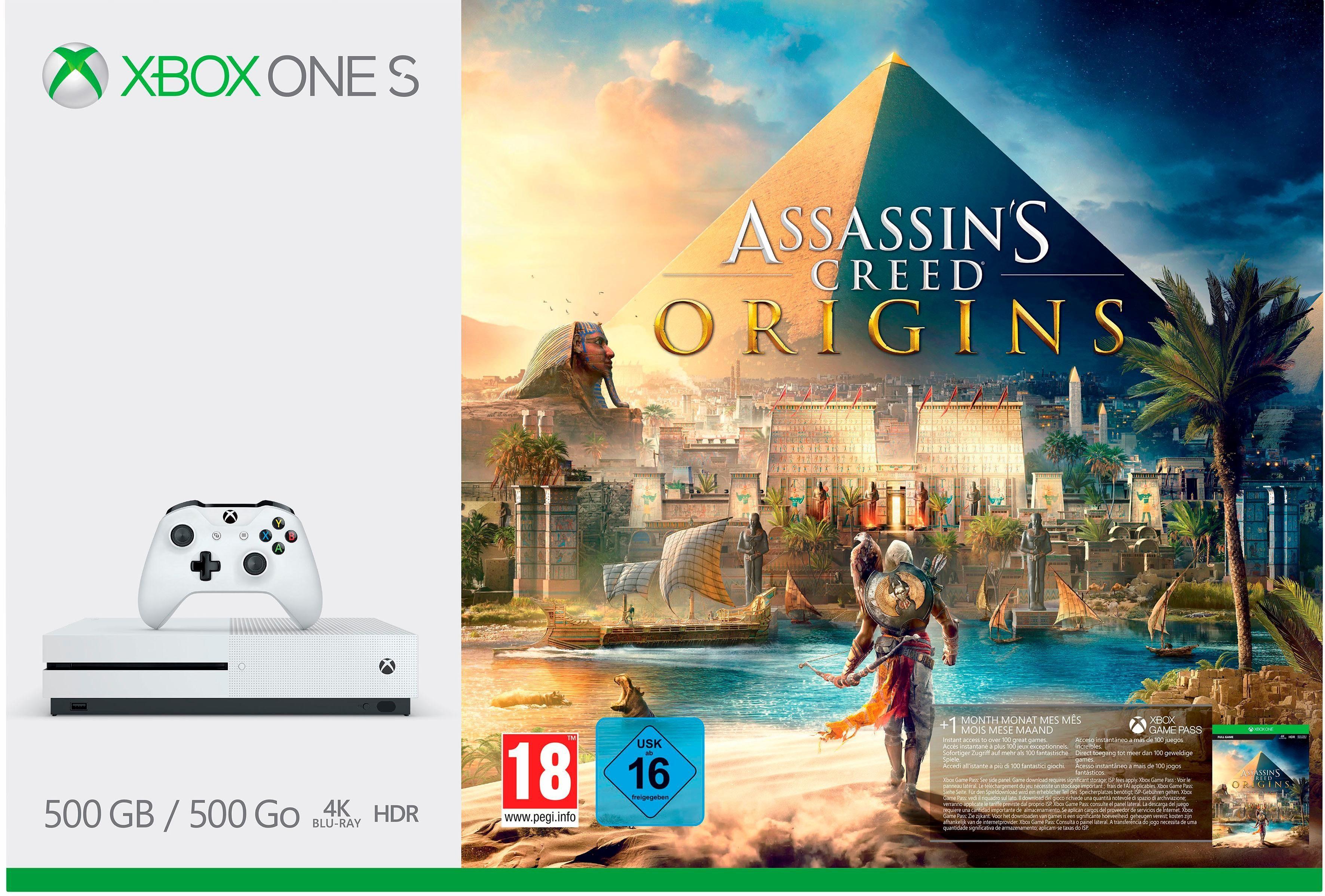 Xbox One S 500 GB + Assassins Creed Origins (DLC), 4K Ultra HD