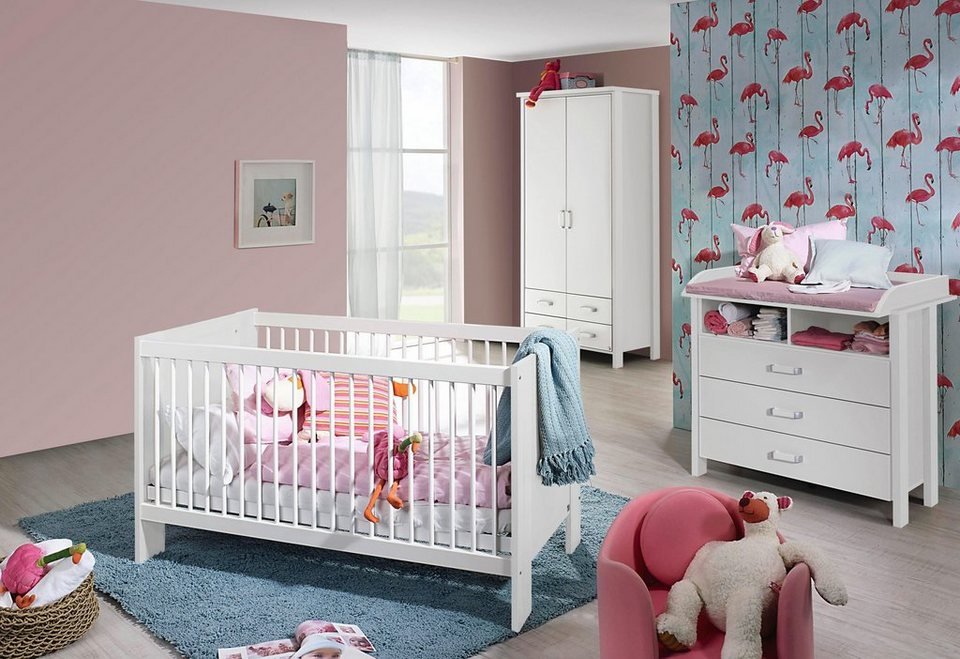 komplett babyzimmer miami babybett wickelkommode 2 trg kleiderschrank 3 tlg set. Black Bedroom Furniture Sets. Home Design Ideas
