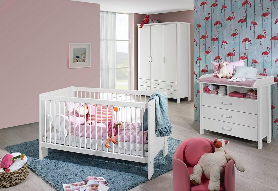 komplett babyzimmer miami babybett wickelkommode gro er kleiderschrank 3 tlg set. Black Bedroom Furniture Sets. Home Design Ideas