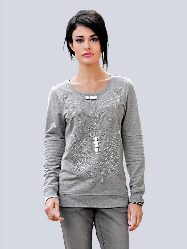 Damen Alba Moda  Sweatshirt mit Applikationen grau | 04055715520257