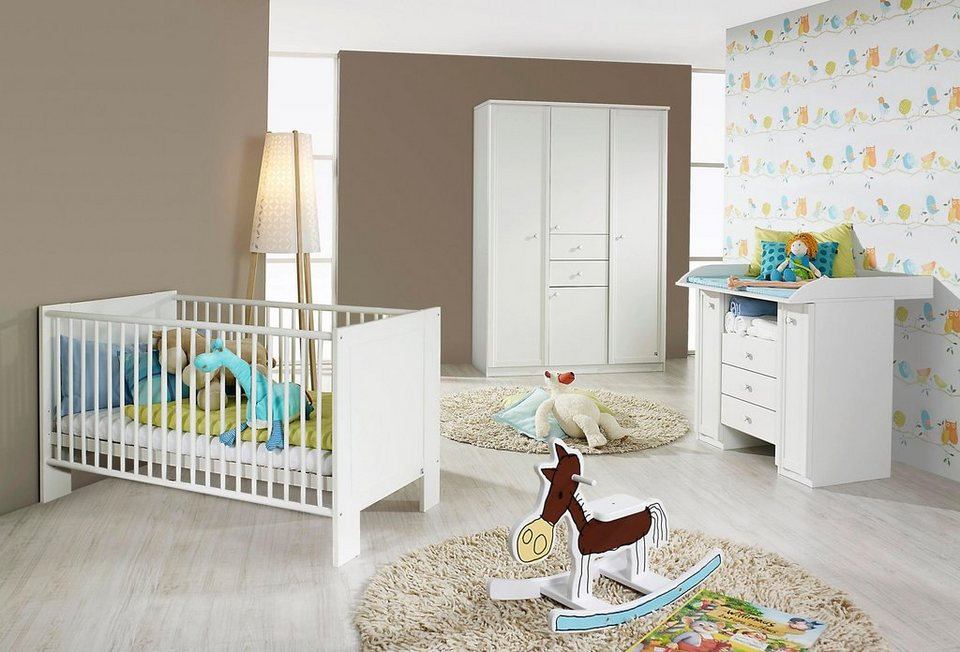 komplett babyzimmer florenz babybett wickelkommode gro er kleiderschrank 3 tlg set in. Black Bedroom Furniture Sets. Home Design Ideas