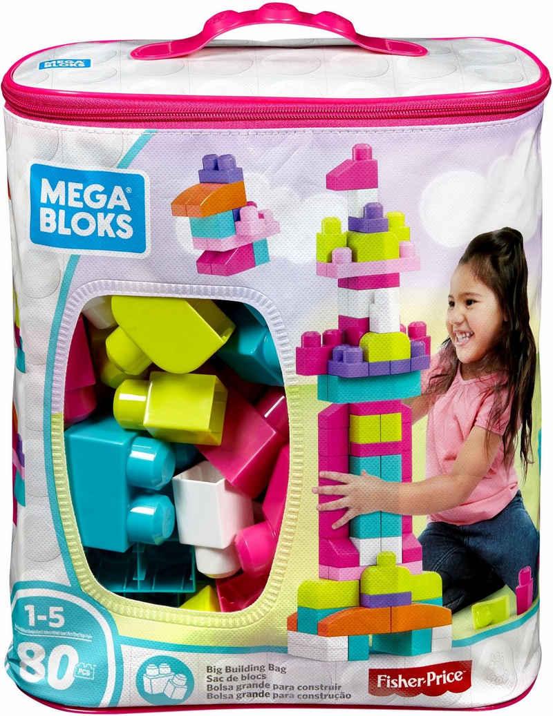 MEGA BLOKS Spielbausteine »Mega Bloks Bausteinebeutel, Groß 80 Teile, pinkfarben«, (80 St)