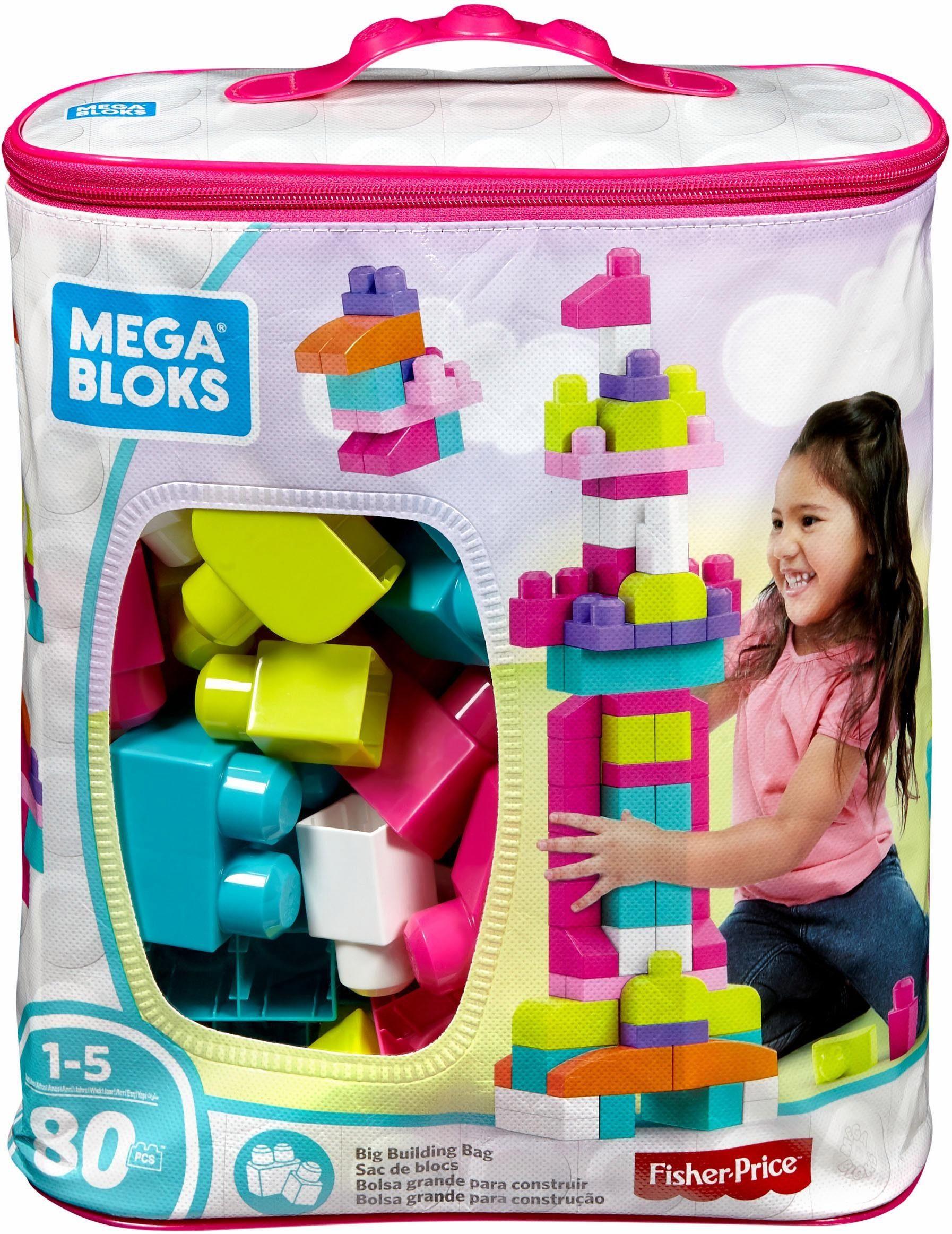 Fisher Price Bausteine Spielset, »Mega Bloks Bausteinebeutel, Groß 80 Teile, pinkfarben«