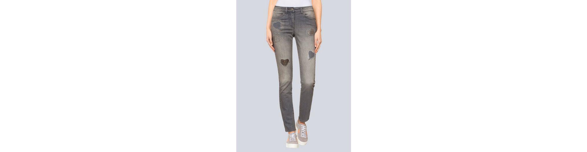Alba Moda Jeans mit Herzen Spielraum Großer Rabatt Verkauf Billig Billig Verkaufen Neu b4Mlh