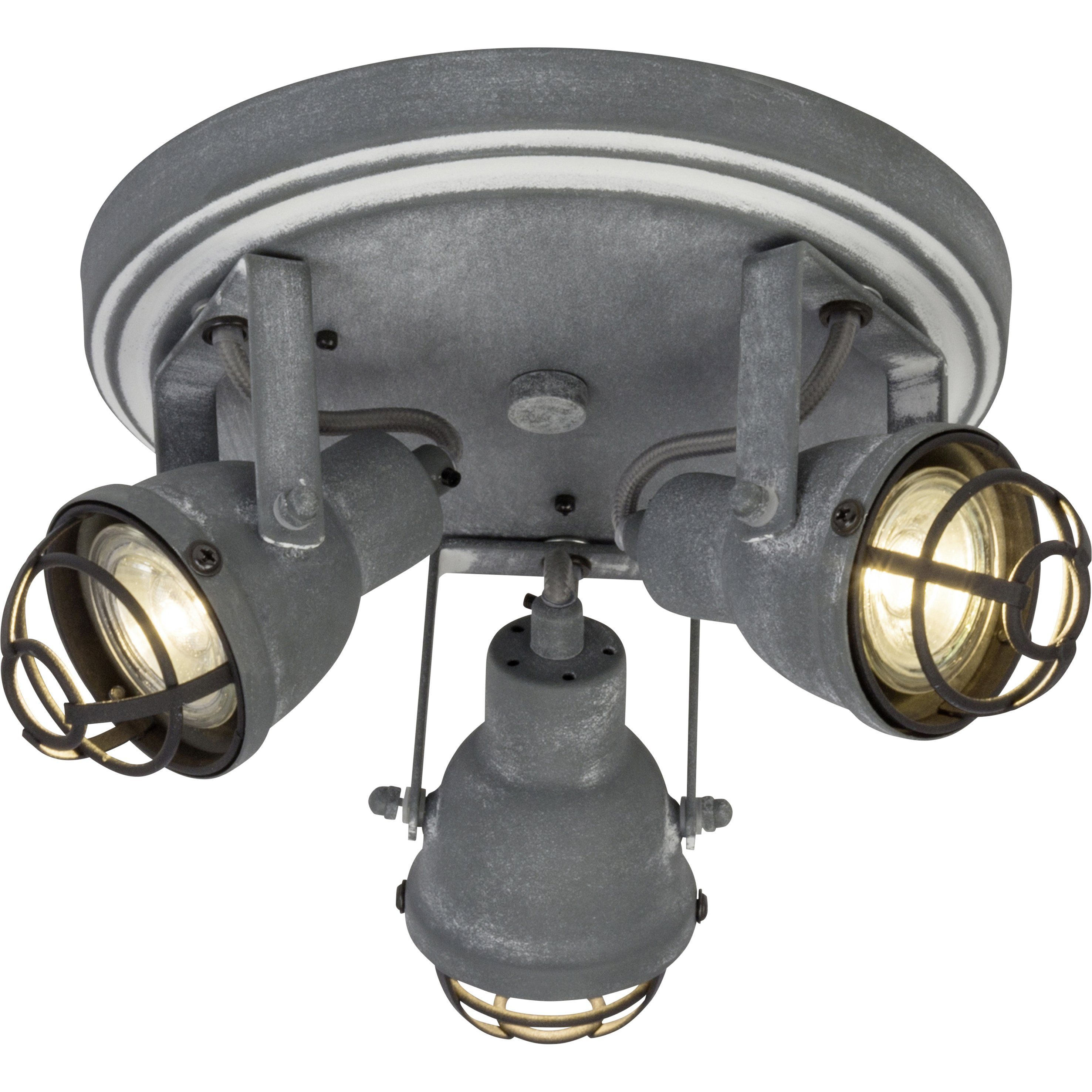Brilliant Leuchten Bente LED Spotrondell 3flg grau Beton
