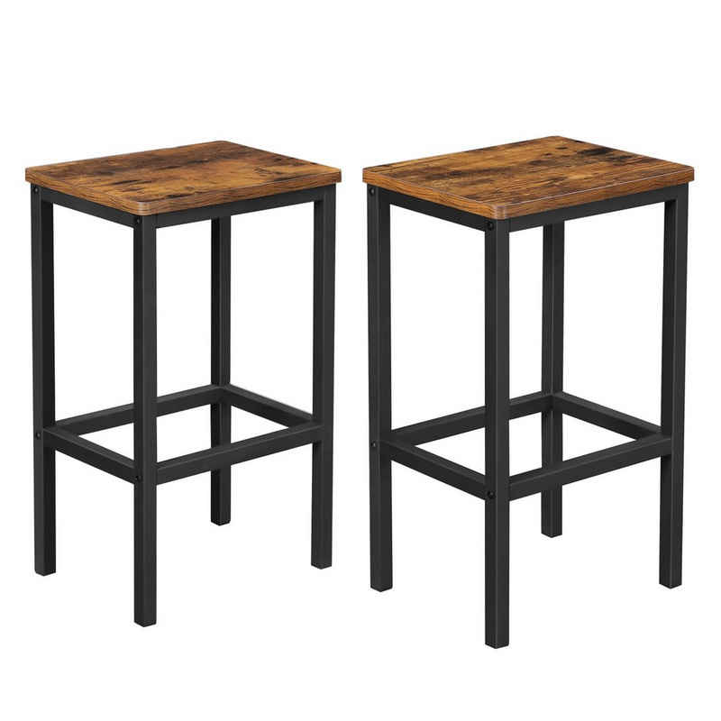 VASAGLE Barhocker »LBC65X LBC065B02«, 2er Set Barstühle, für Küche, Wohnzimmer, Esszimmer, Industrie-Design