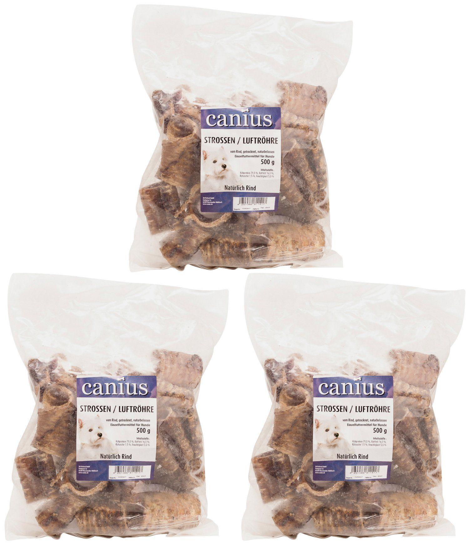 Canius Set: Hundesnack »Strossen/Luftröhre vom Rind«, 3 Beutel á 500 g