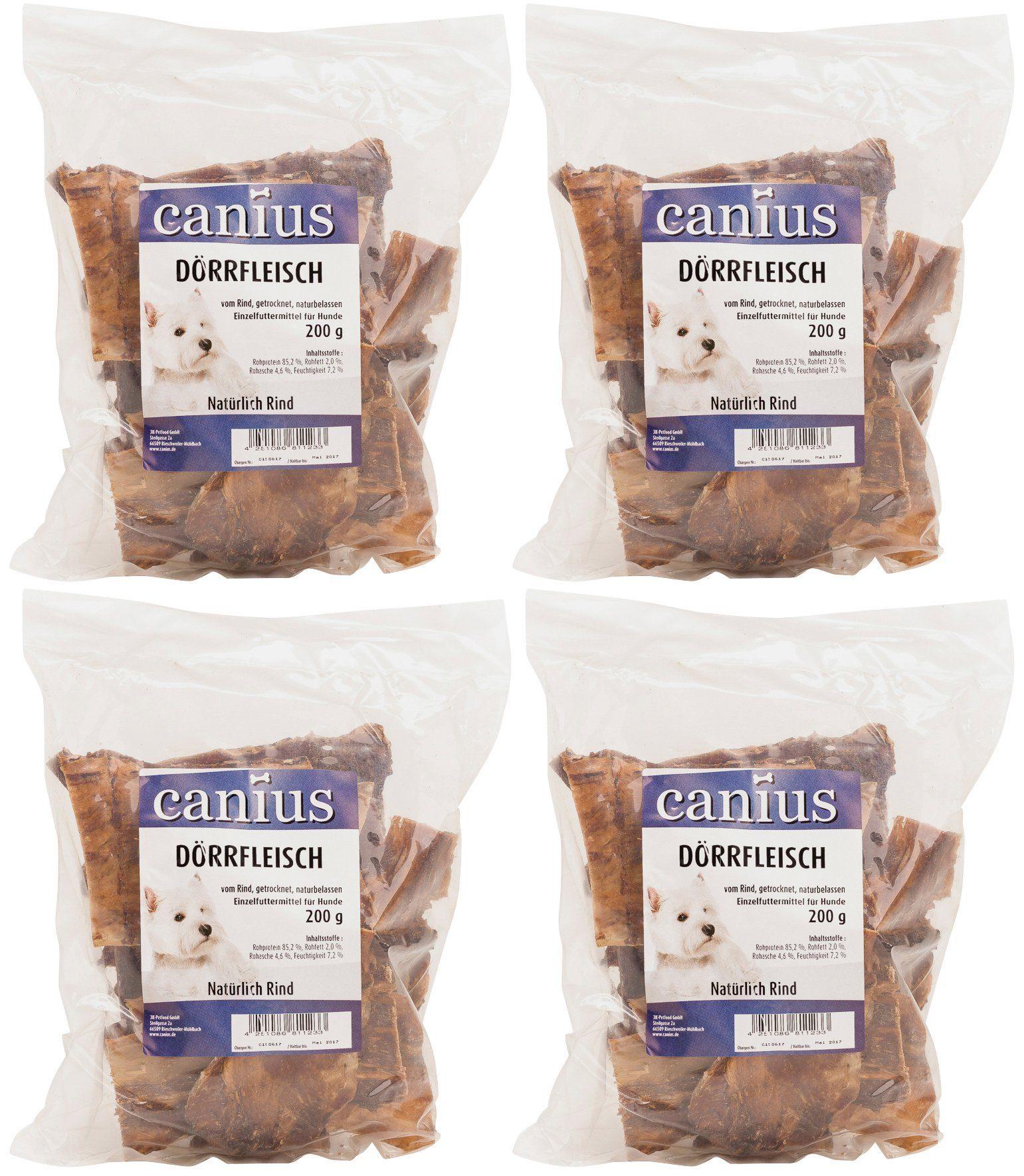 Canius Set: Hundesnack »Dörrfleisch«, 4 Beutel á 200 g