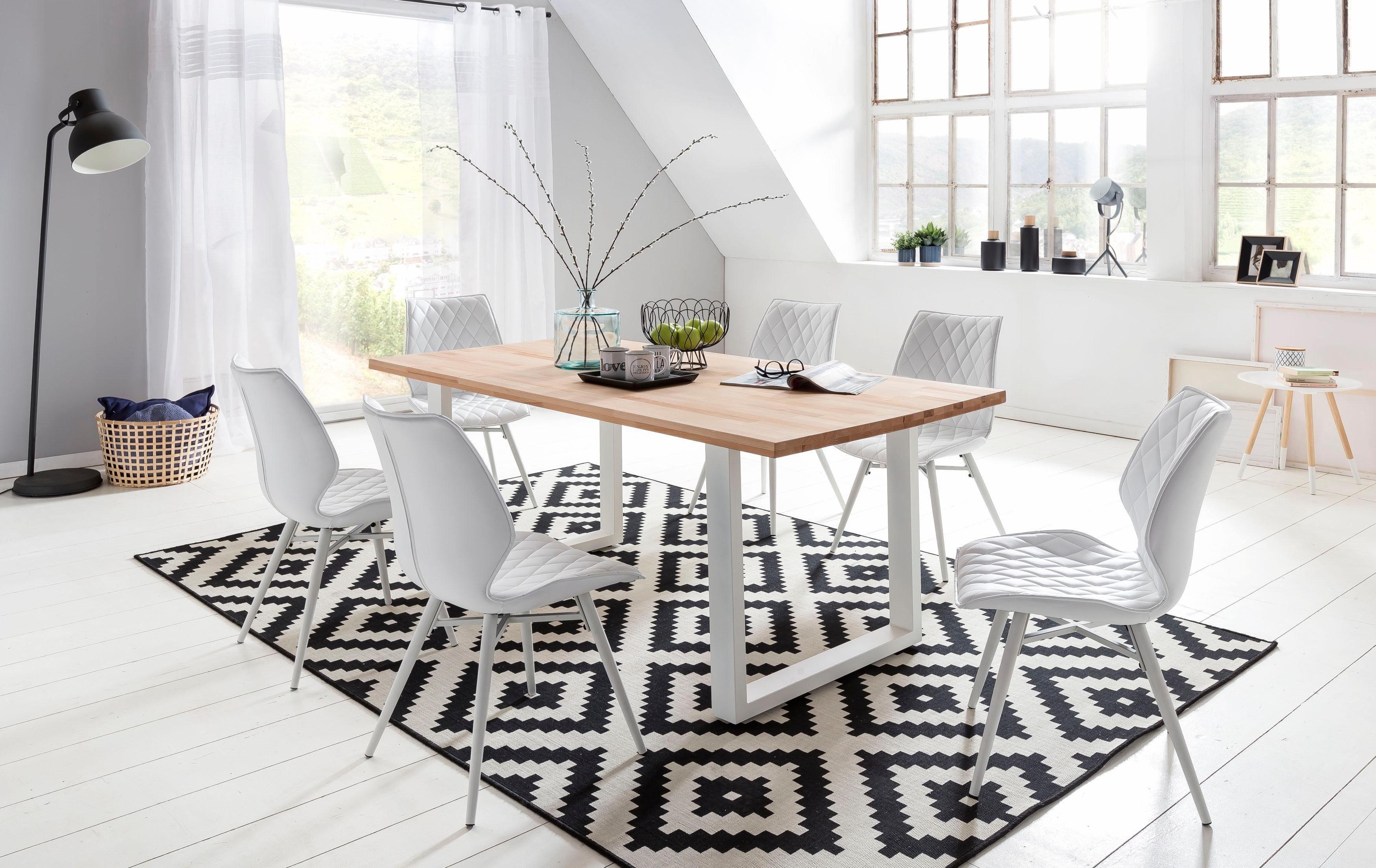 Home affaire Esstisch »Palm Beach«, Tischplatte aus massiver Kernbuche mit weißem Metallgestell