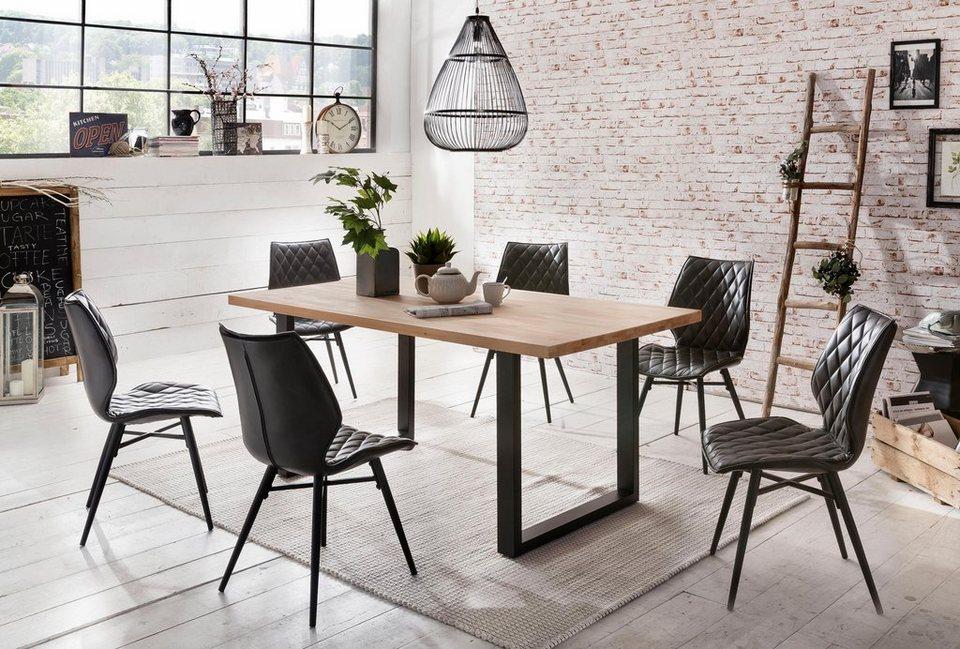 home affaire esstisch palm beach tischplatte aus massiver kernbuche mit schwarzem. Black Bedroom Furniture Sets. Home Design Ideas