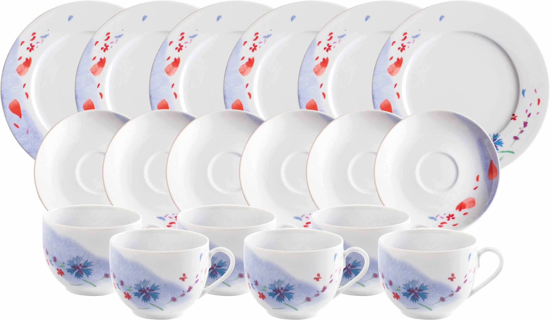 Kahla Kaffeeservice, Porzellan, 18 Teile, Made in Germany, »Tanzende Blüten«