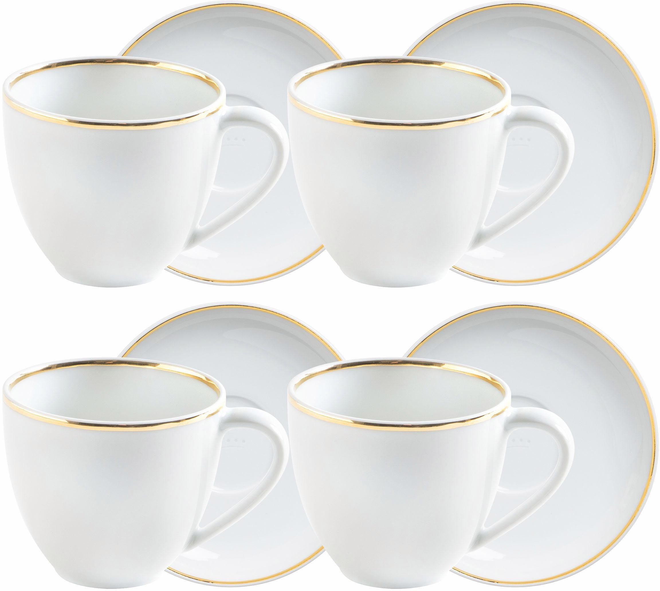 Kahla Espresso-Tassen-Set, Porzellan, 8-teilig, »Line of Gold«