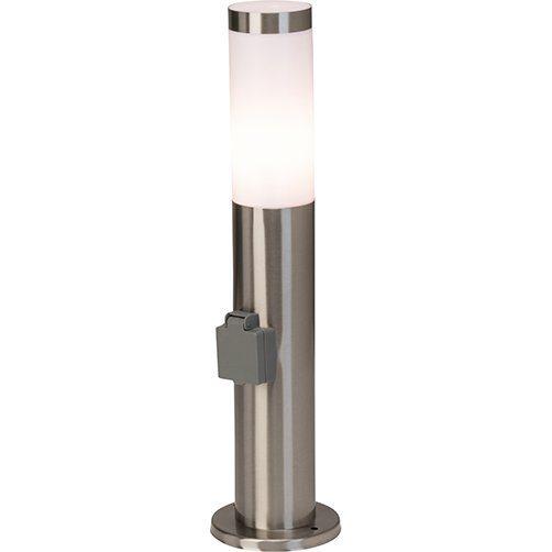 Brilliant Leuchten Chorus Außensockelleuchte mit Steckdose edelstahl IP44