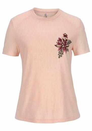 Only T-Shirt HELENA, mit verschiedenen Applikationen