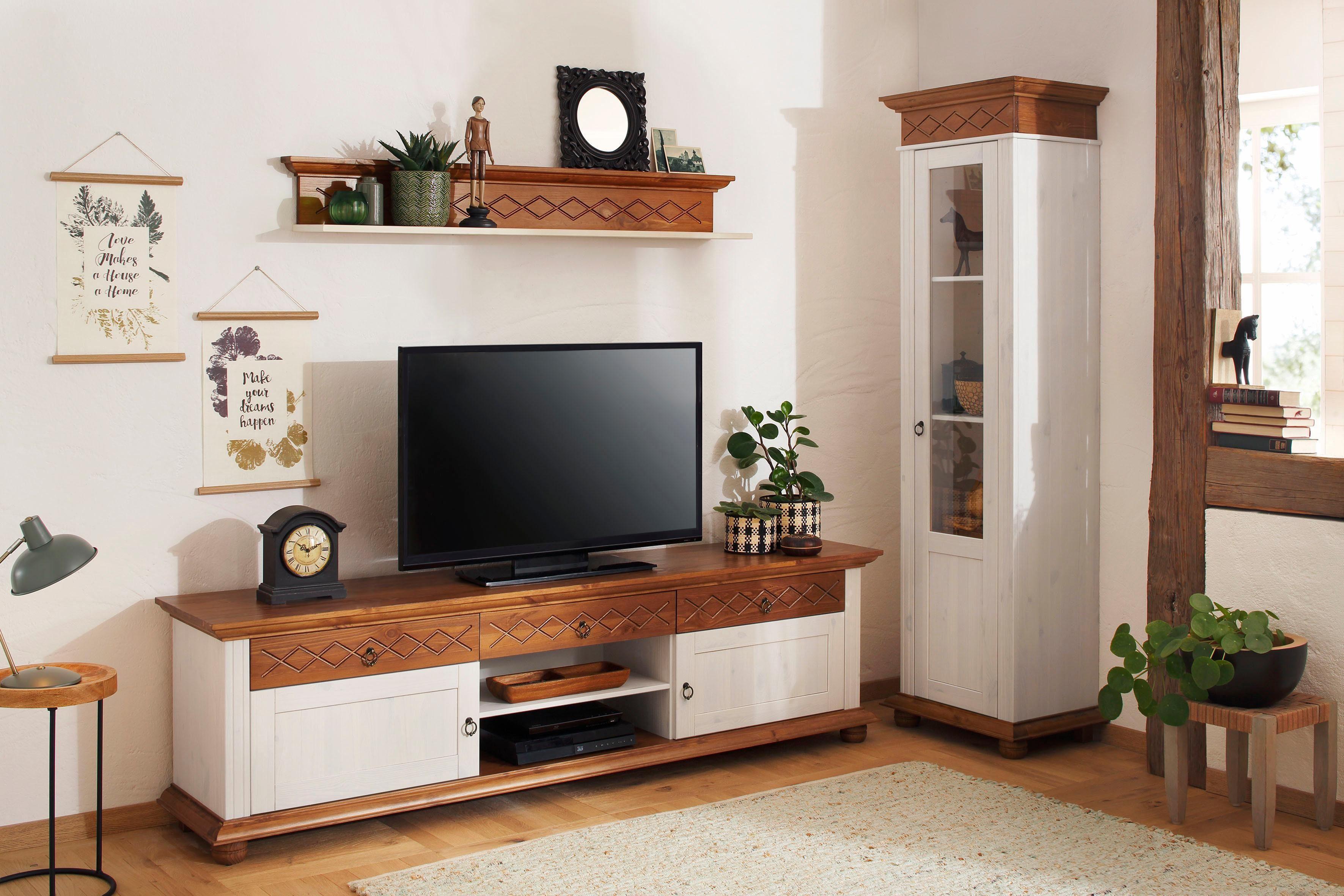 Home affaire TV-Lowboard »Helma«, mit dekorativer Kranzleiste, Breite 200 cm