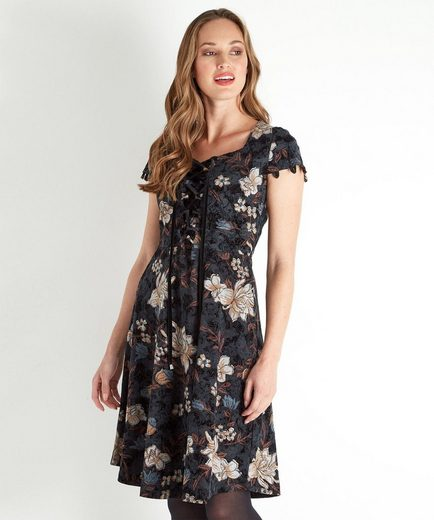 Joe Browns Druckkleid Joe Browns Womens Short Sleeved Floral Dress with Lace Up Front