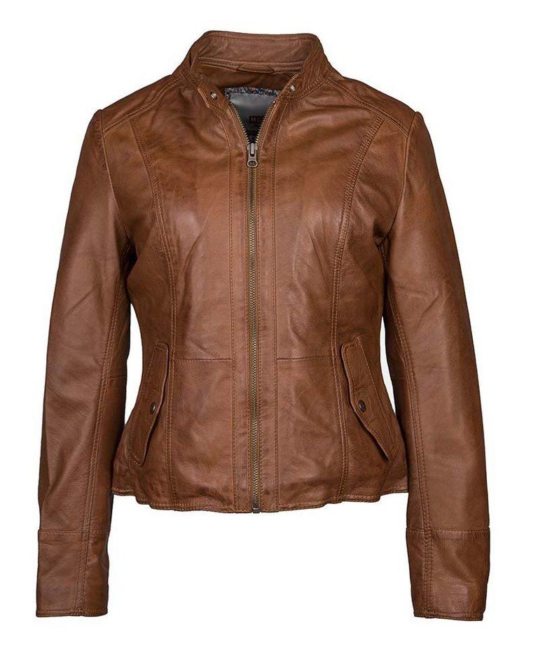 Mustang Lederjacke - tailliert geschnitten »Melville« | Bekleidung > Jacken > Lederjacken & Kunstlederjacken | Braun | Polyester - Baumwolle | MUSTANG