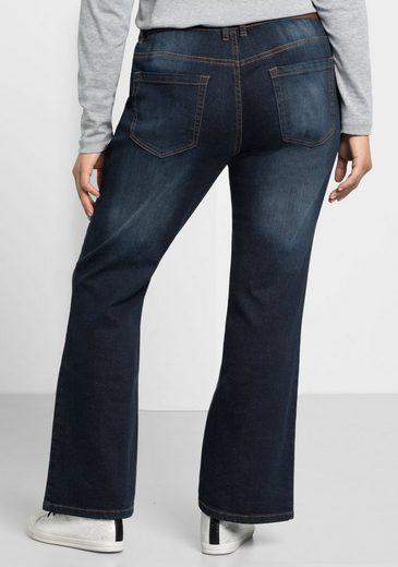 sheego Denim Bootcut-Jeans, Individuelle Used-Effekte
