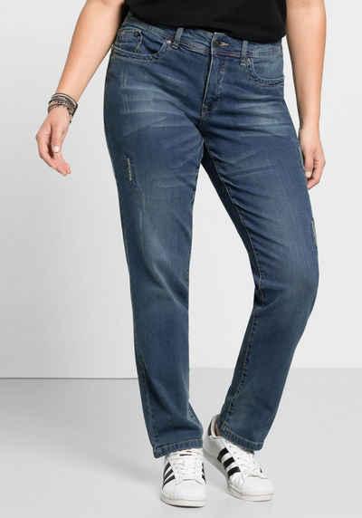 Sheego Stretch-Jeans Mit Used- und Destroyed-Effekten