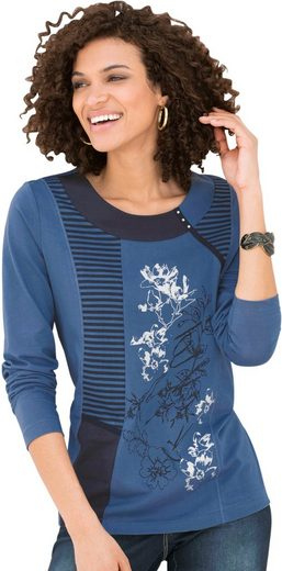 Classic Basics Longshirt im Mix aus Blüten- und Streifen-Elementen
