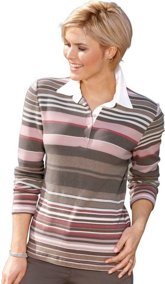 Damen Collection L. Poloshirt im hochwertig garngefärbten Ringel rosa | 05205012288841