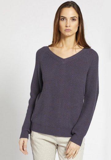 khujo V-Ausschnitt-Pullover MERLE, mit Reißverschluss am Rücken