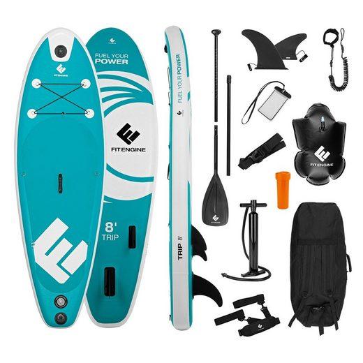 FitEngine Inflatable SUP-Board »Junior Trip SUP-Board Set (Allrounder) - 8' 244cm«, Set Aufblasbares Allrounder SUP-Board - 8' 244cm türkis