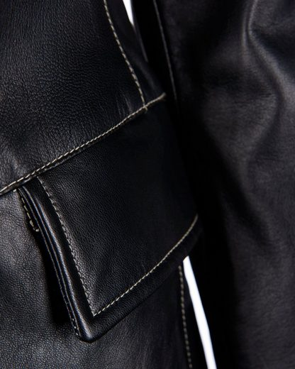 Jcc Leather Coat With A Straight Cut Trens-1