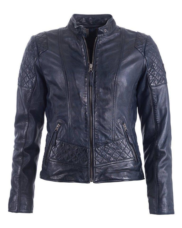 Mustang Lederjacke mit Raffungen »Edith« | Bekleidung > Jacken > Lederjacken & Kunstlederjacken | Blau | Baumwolle - Polyester | MUSTANG