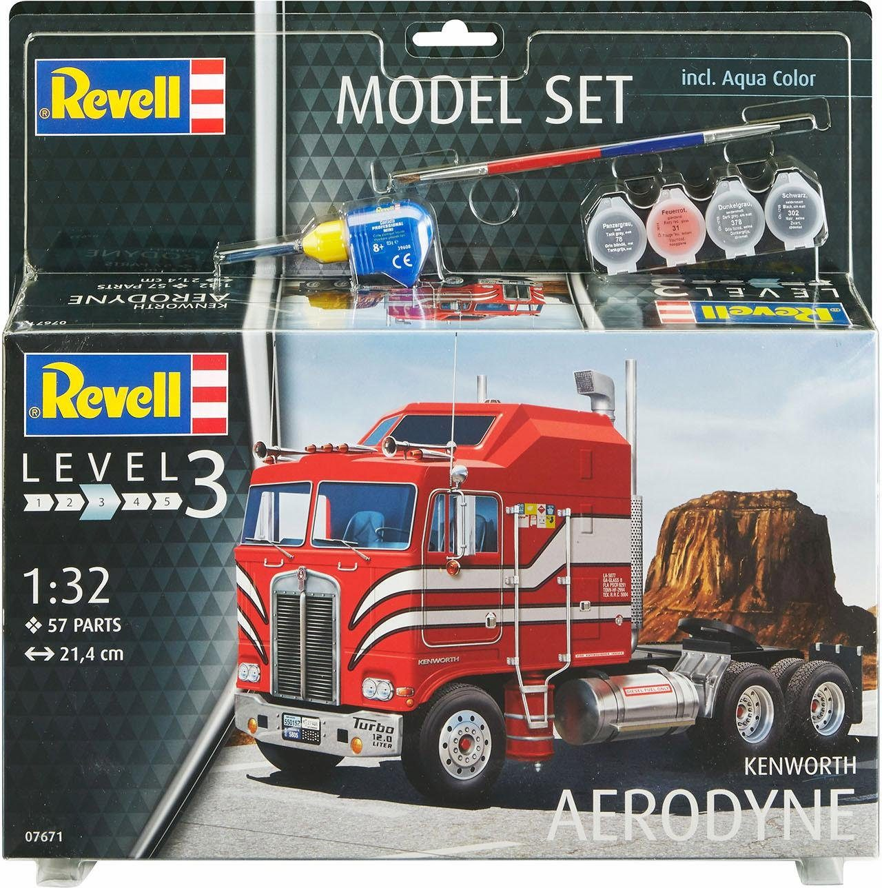 Revell Modellbausatz LKW mit Zubehör, »Model Set, Kenworth COE Aerodyne«