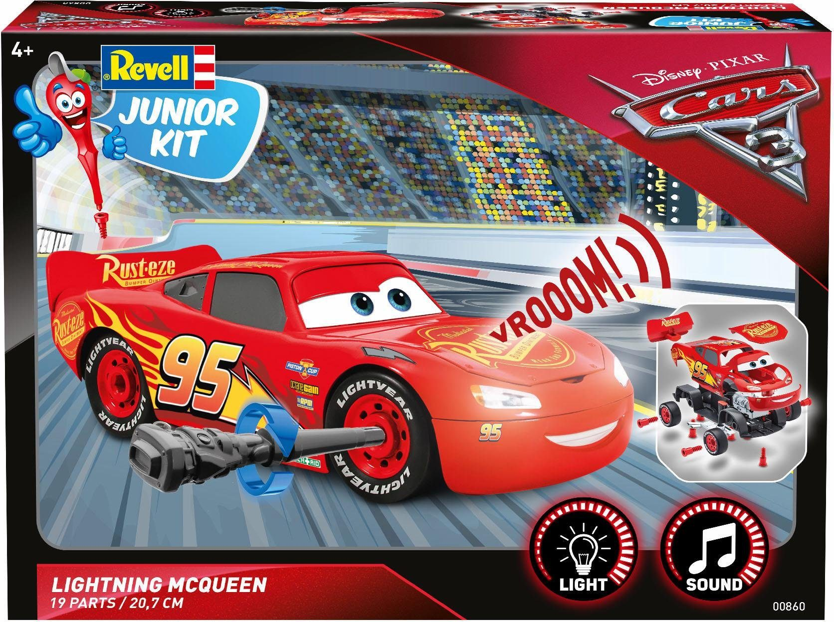 Revell Modellbausatz Auto mit Licht und Sound, »Junior Kit Disney Cars Lightning McQueen«