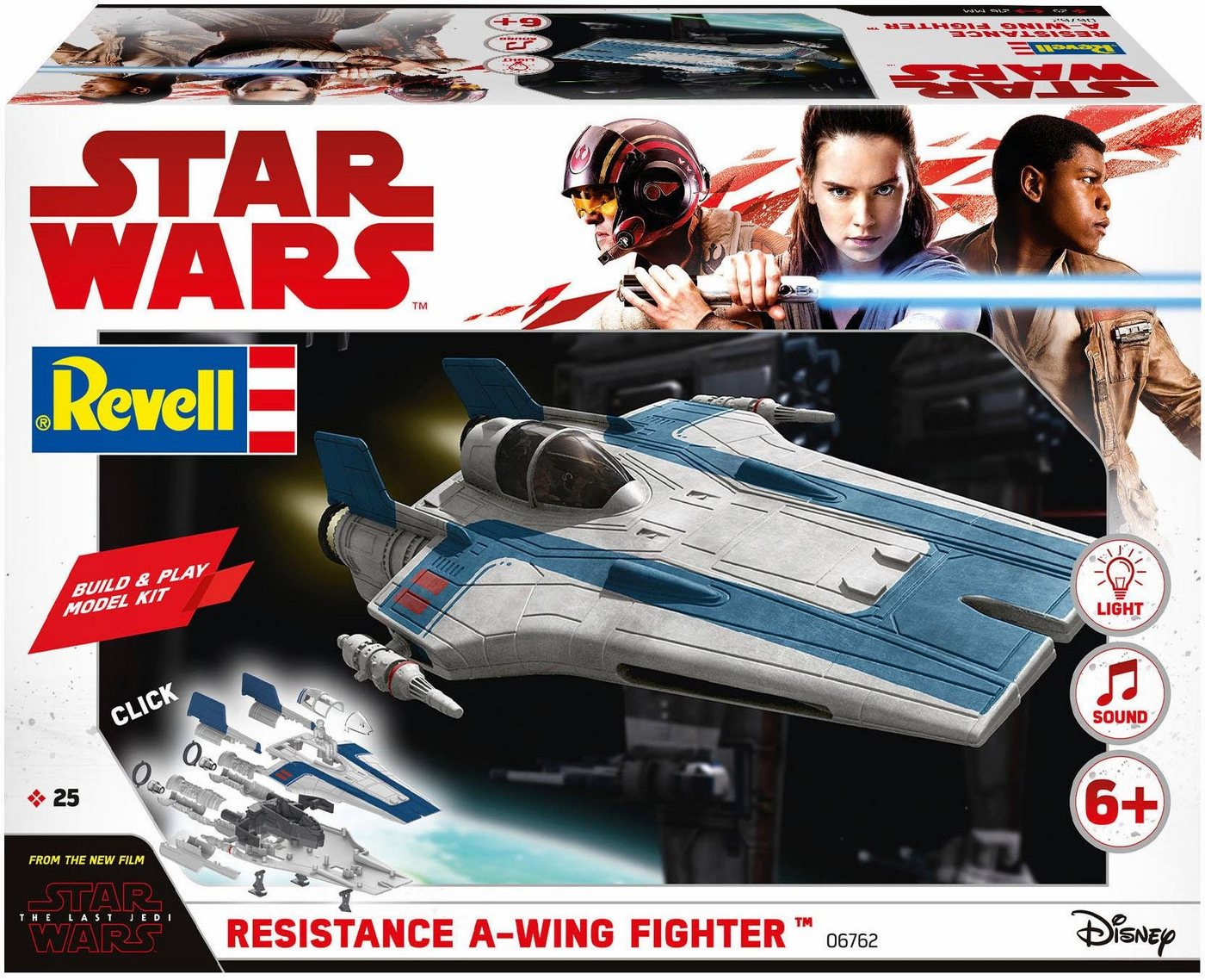 Revell Modellbausatz Raumschiff, »Disney Star Wars Resistance A-Wing Fighter, blau (Build&Play)«