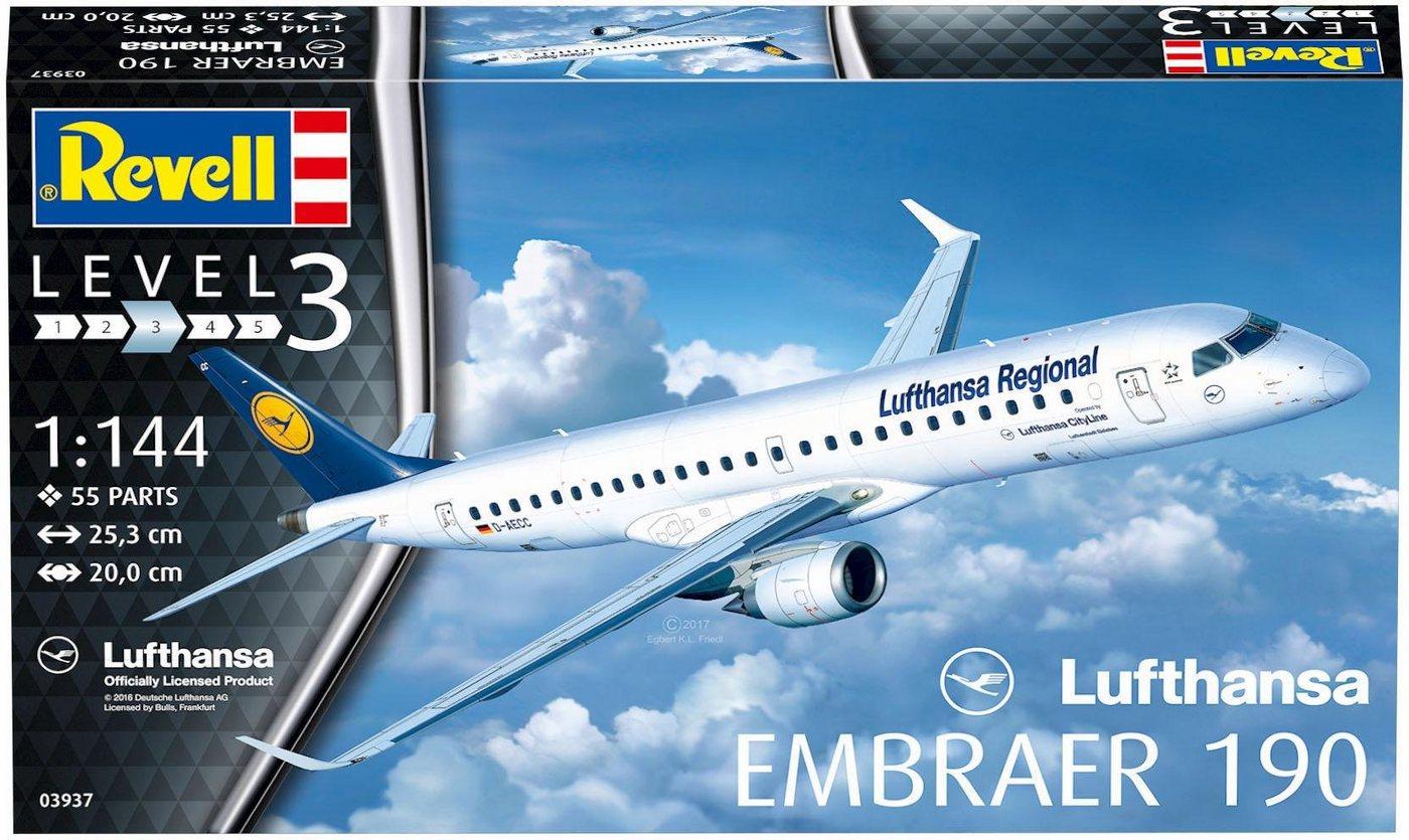 Revell Modellbausatz Flugzeug mit Zubehör, »Model Set, Embraer 190 Lufthansa«