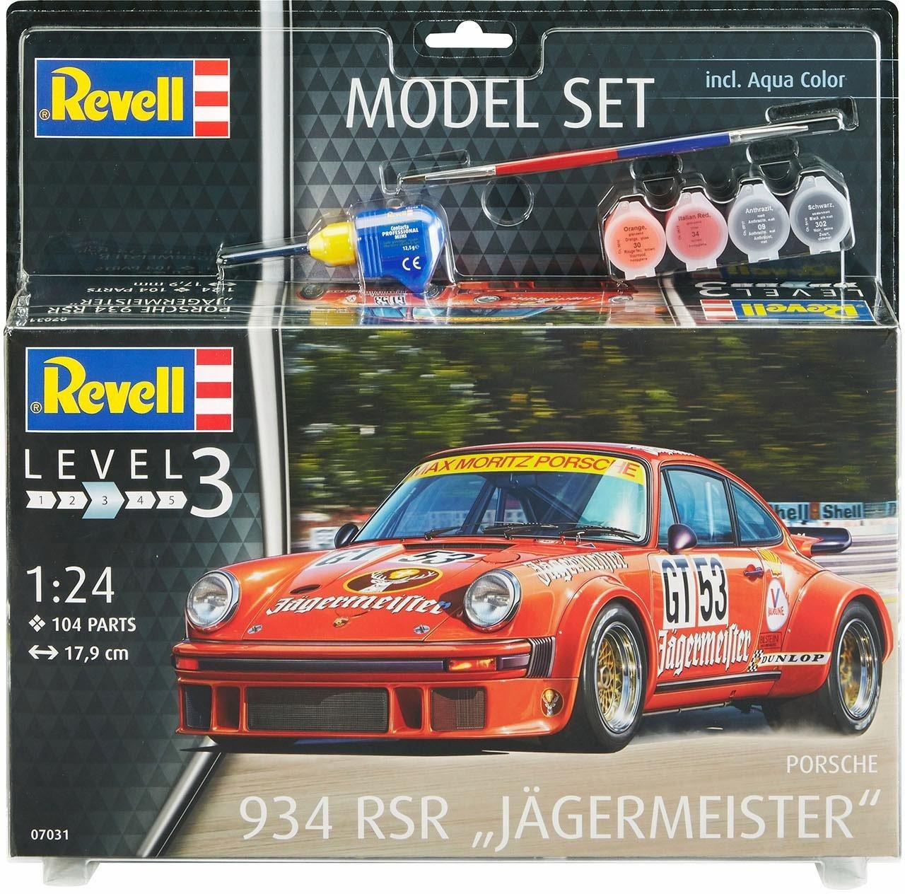 Revell Modellbausatz Auto mit Zubehör, »Model Set, Porsche 934 RSR Jägermeister«