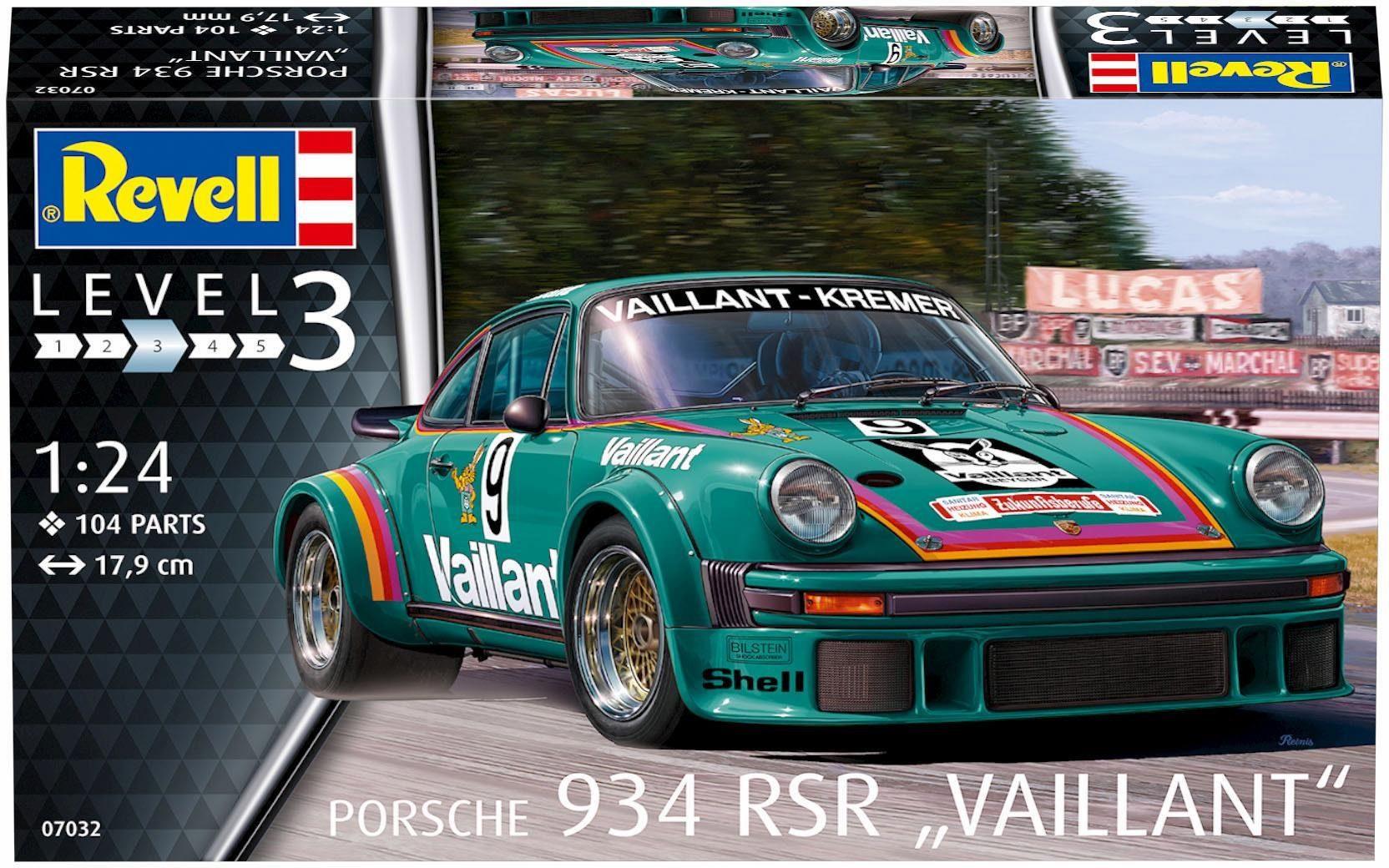 Revell Modellbausatz Auto mit Zubehör, »Model Set, Porsche 934 RSR Vaillant«