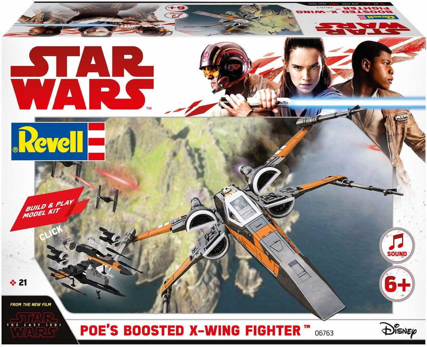 Revell Modellbausatz Raumschiff, »Disney Star Wars Poes Boosted X-Wing Fighter (Build&Play)«