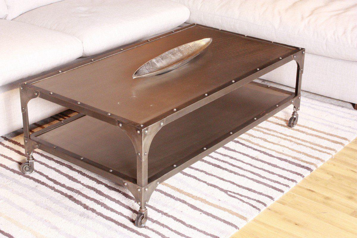 Kasper-Wohndesign Couchtisch im Vintage Industriedesign rollbar Metall grau »Rika«