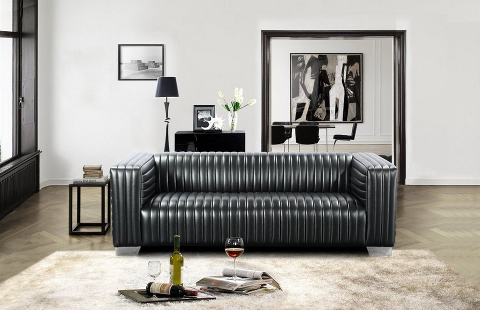 kasper wohndesign sofa kunstleder schwarz wheel otto. Black Bedroom Furniture Sets. Home Design Ideas