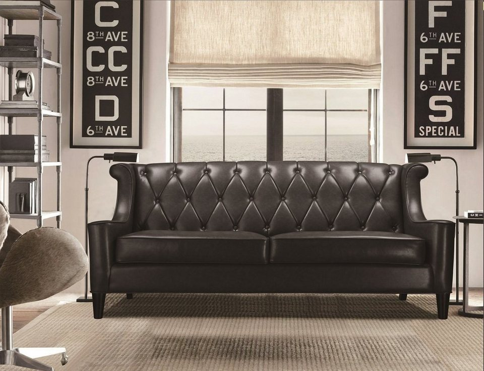 kasper wohndesign sofa kunstleder schwarz 3 sitzer palace online kaufen otto. Black Bedroom Furniture Sets. Home Design Ideas