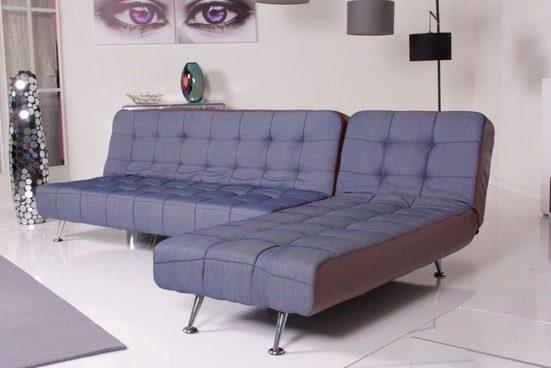 Kasper-Wohndesign Relax Ecksofa Marlene Bettsofa Stoff/Kunstleder Jeans/Braun »KAWOLA«