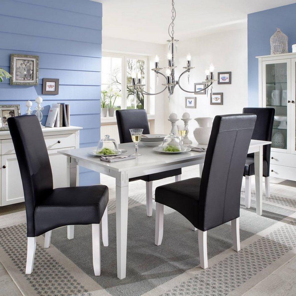 kasper wohndesign esstisch mit 2 ansteckplatten birke wei annika online kaufen otto. Black Bedroom Furniture Sets. Home Design Ideas