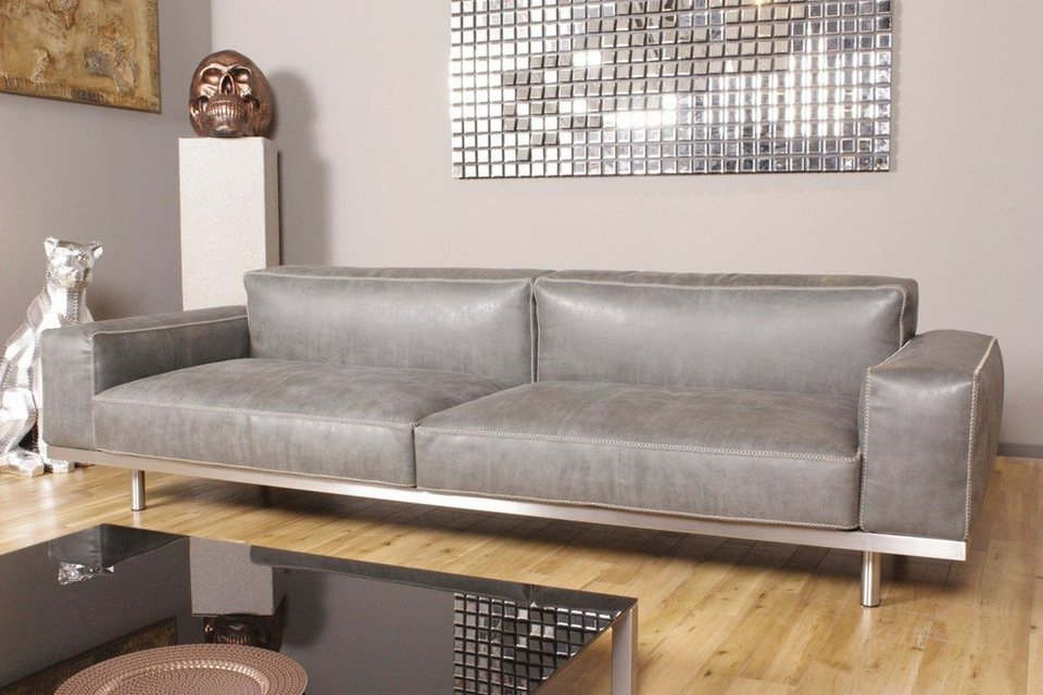 kasper wohndesign ledersofa 4 sitzer leder toledo silbergrau kawola opra online kaufen otto. Black Bedroom Furniture Sets. Home Design Ideas