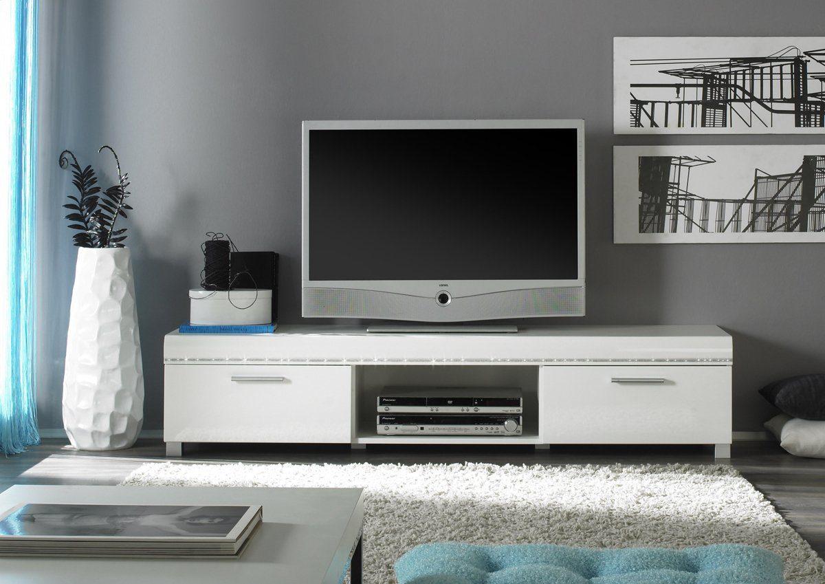 Kasper-Wohndesign Lowboard mit SWAROVSKI ELEMENTS Weiß Hochglanz »ZERO«