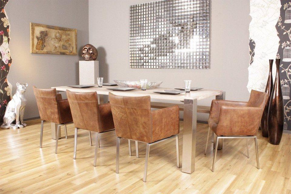 kasper wohndesign esszimmerstuhl leder foggia rhum braun. Black Bedroom Furniture Sets. Home Design Ideas