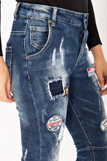 Blue Monkey Skinny-fit-Jeans Scarlett 1621, mit Stoffpatches im Materialmix