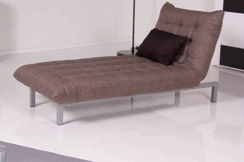 Kasper-Wohndesign Relax Liege Spirit Stoff graubraun mit dunkelbraunem Kissen »KAWOLA«
