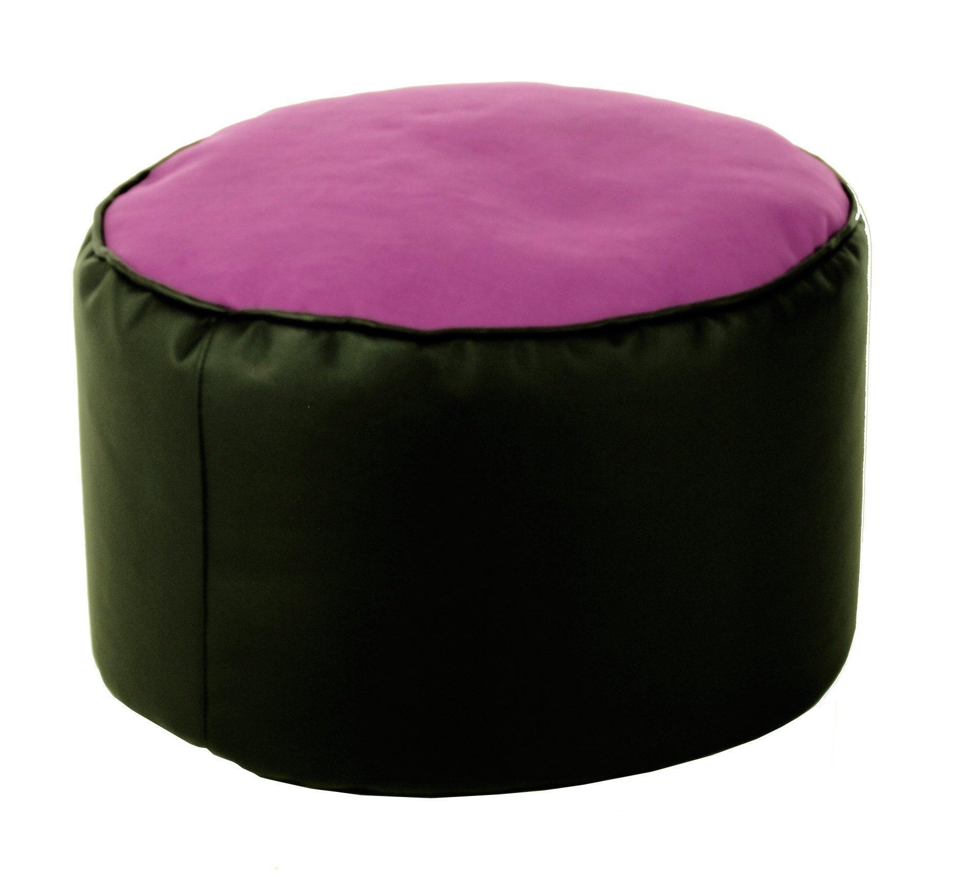 Kasper-Wohndesign Sitzsack Pouf schwarz verschiedene Farben »LOTUS GENUA« | Wohnzimmer > Sessel > Sitzsaecke | Schwarz | Polyester - Kunstleder | Kasper-Wohndesign